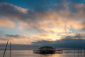 The west pier at sunset in brighton uk Stock Images