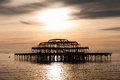 The west pier at sunset in brighton uk Royalty Free Stock Photography