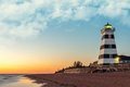 West Point Lighthouse at Sunset Royalty Free Stock Photo