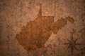 West virginia state map on a old vintage paper background Royalty Free Stock Photo