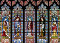 West Window Top Panel, Stained Glass in Lincoln Cathedral Royalty Free Stock Photo