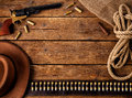 Western accessories on wooden table Royalty Free Stock Photos