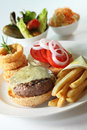 Western beef burger Royalty Free Stock Images