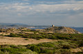 Western coast sardinia italy landscape of in with ruin of watchtower Royalty Free Stock Photos