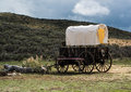 Western covered chuckwagon for cooking food on the trail Royalty Free Stock Photo