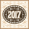 2017 western cowboy belt buckle vector illustration Royalty Free Stock Photo