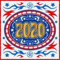 2020 Western Cowboy Belt Buckle vector illustration Royalty Free Stock Photo