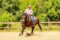 Western cowgirl woman riding horse. Sport activity Royalty Free Stock Photo