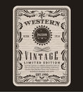 Western frame border vintage label hand drawn engraving retro