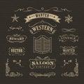 Western hand drawn banners vintage badge