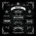 Western hand drawn blackboard vintage badge vector Royalty Free Stock Photo
