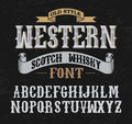 Western label font with decoration design.