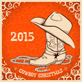 Western New Year greeting card with cowboy objects Royalty Free Stock Photo