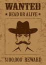 Western  poster, wanted dead or alive, Royalty Free Stock Images