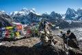 Western side of Mount Everest and Lhotse, Himalaya, Nepal Royalty Free Stock Photo