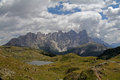 The western side of pale group dolomitic landscape in summer dolomites trentino italy Stock Photos