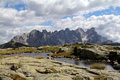 The western side of pale group a panoramic view fiemme valley dolomites trentino italy Royalty Free Stock Photos