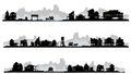 Western style silhouette buildings set of with old stagecoach Stock Photo