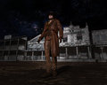 Western town cowboy outlaw illustration of a and it s time for a showdown Stock Images