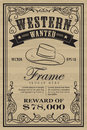 Western vintage frame label wanted retro hand drawn vector