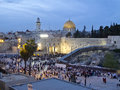 Western wall and dome of rock at passover holiday jerusalem old city pesach jewish people are going to for praying Stock Image