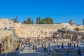 Western wall in jerusalem israel february tourists and prayers visiting and making their wishes at the wailing or kotel witch is Stock Images