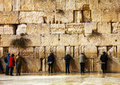 The western wall in jerusalem israel in the night december with a praying pilgrims on december it s located old city of Royalty Free Stock Photo