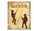 Western wanted sign with cowboys Stock Images