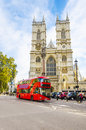 Westminster Abbey cathedral and doubledecker, London Royalty Free Stock Photo