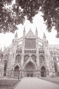 Westminster abbey facade westminster london england uk in black and white sepia tone Royalty Free Stock Images
