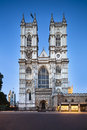 Westminster abbey in london with blue night sky taken a shift lens Stock Photos