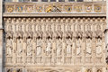 Westminster abbey london the entrance of with its several priests statues in niches england Stock Images
