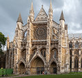 Westminster abbey london the side facade with ogival arches and a circular glass window medieval england Stock Image