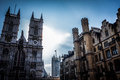 Westminster abbey shot against the sun at london Royalty Free Stock Images