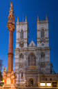 Westminster abbey during twilight london england Stock Photo