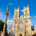 Westminster abbey western facade of with column in london Stock Photos