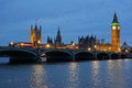 Westminster Bridge Houses of Parliament at dusk. Royalty Free Stock Image