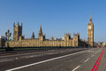 Westminster during the day from bridge Stock Photos