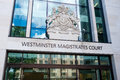 The westminster magistrates court in marleybone rd in london on august chief magistrate of england and wales sits at Royalty Free Stock Photography