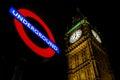Westminster ondergronds big ben Royalty-vrije Stock Afbeelding