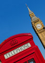 Westminster phone box with the palace of in the background Royalty Free Stock Image