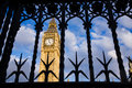 Westminster security big ben seen through the ornate metal gates uk Royalty Free Stock Photos