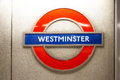 Westminster sign in london underground close up of platform is an area of central among s attractions Royalty Free Stock Photography