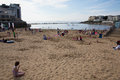Weston super mare may bank holiday crowds somerset th flock to beach as temperatures soared on the spring on mon Royalty Free Stock Images