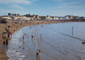 Weston super mare may bank holiday crowds somerset th flock to beach as temperatures soared on the spring on mon Royalty Free Stock Photos