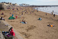 Weston super mare may bank holiday crowds somerset th flock to beach as temperatures soared on the spring on mon Royalty Free Stock Image