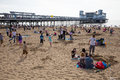 Weston super mare may bank holiday crowds somerset th flock to beach as temperatures soared on the spring on mon Stock Image