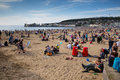 Weston super mare may bank holiday crowds somerset th flock to beach as temperatures soared on the spring on mon Royalty Free Stock Photography