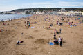 Weston super mare may bank holiday crowds somerset th flock to beach as temperatures soared on the spring on mon Stock Photo