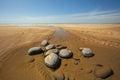 Westward Ho Beach scene with large rocks Royalty Free Stock Photo